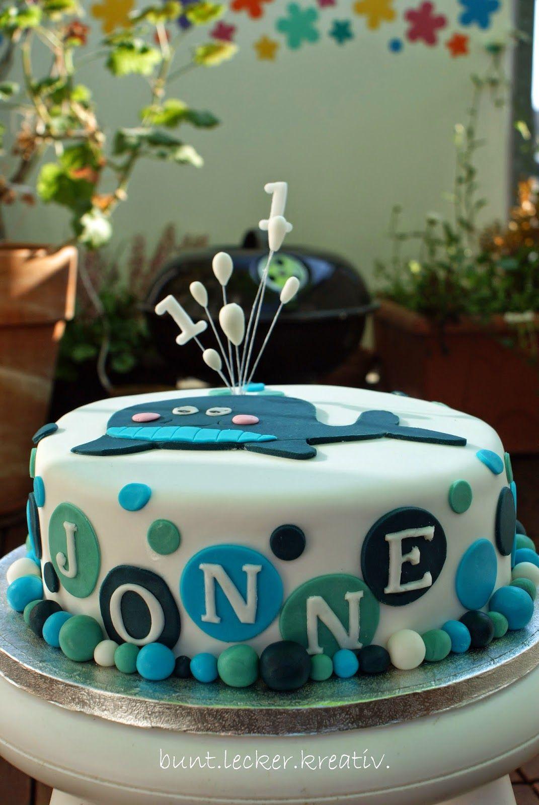 Buntleckerkreativ Wal Torte Zum 1 Geburtstag Geburtstag