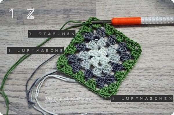 Anleitung einfaches Granny | Crochet | Pinterest | Häkeln, Stricken ...