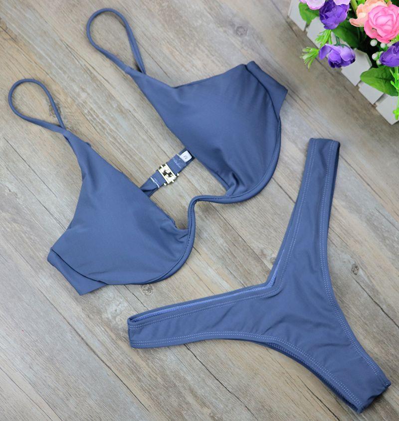 4416a33404b73 2017 New high cut thong bathing suit high waist swimsuit Solid swimwear  women Brazilian Biquini swim