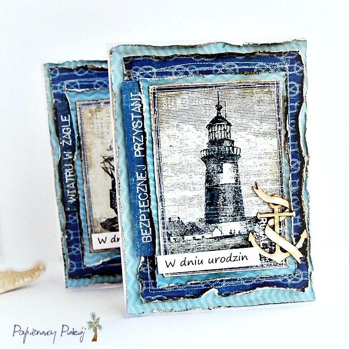 Скрапбукинг открытки с маяком, открытка