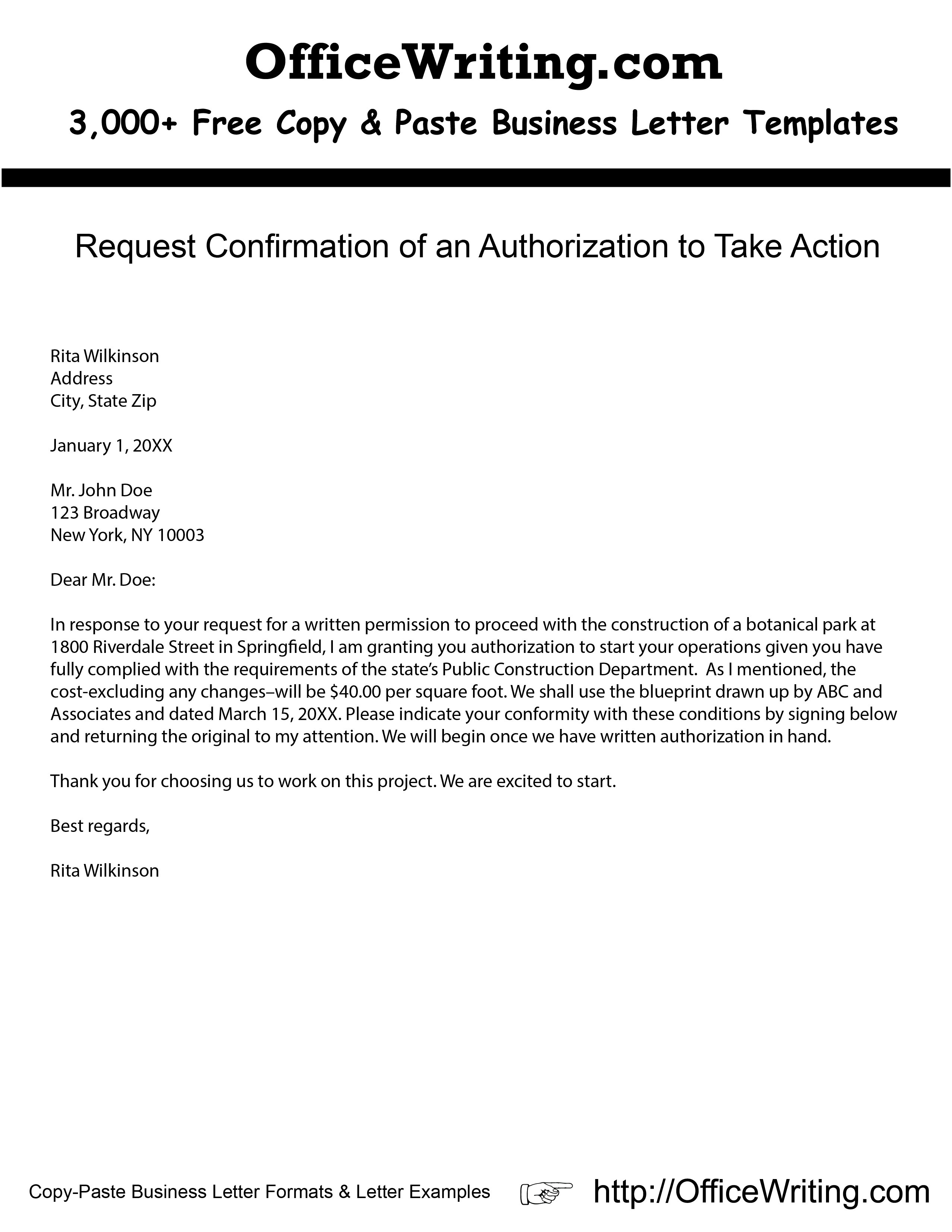 Request Confirmation of an Authorization to Take Action