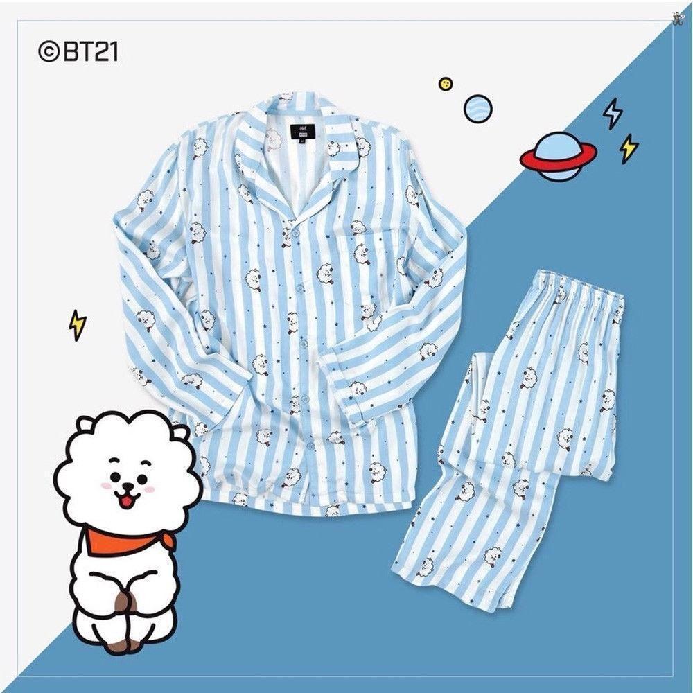Bt21 Bts Kawaii Cartoon Cotton Pajama Sets K Pop Bangtan Boys Korean Style Fashion Love Yourself Answer V Rm Jin Rm Jin Jungkook Fashionable Patterns Underwear & Sleepwears