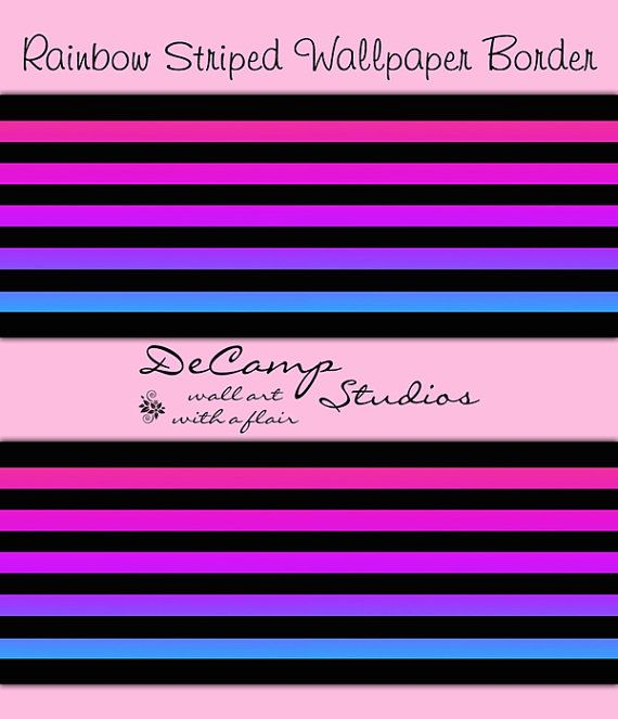RAINBOW STRIPED WALLPAPER Border Wall Decals Teen Girl Purple Room Baby  Nursery Kids Bedroom Modern Art Childrens Hot Pink Stickers Decor