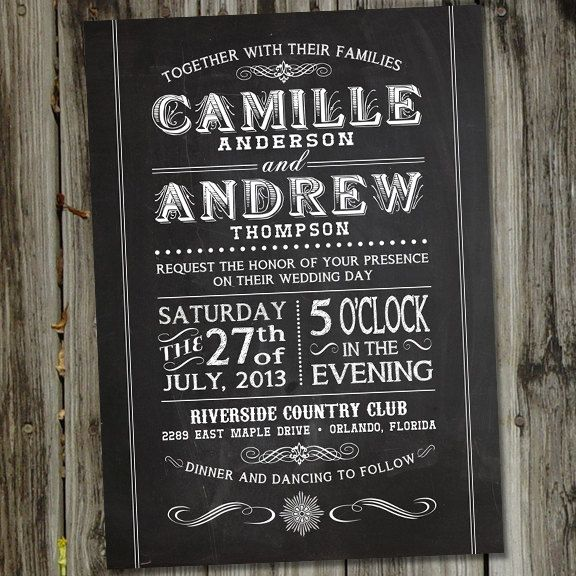 Printable Chalkboard Wedding Invitation In Vintage Retro Font