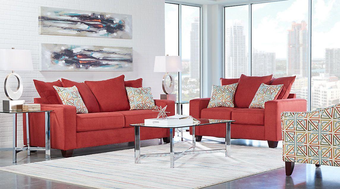 Parkside Red 7 Pc Living Room Living Room Sets Furniture Living Room Sets Furniture