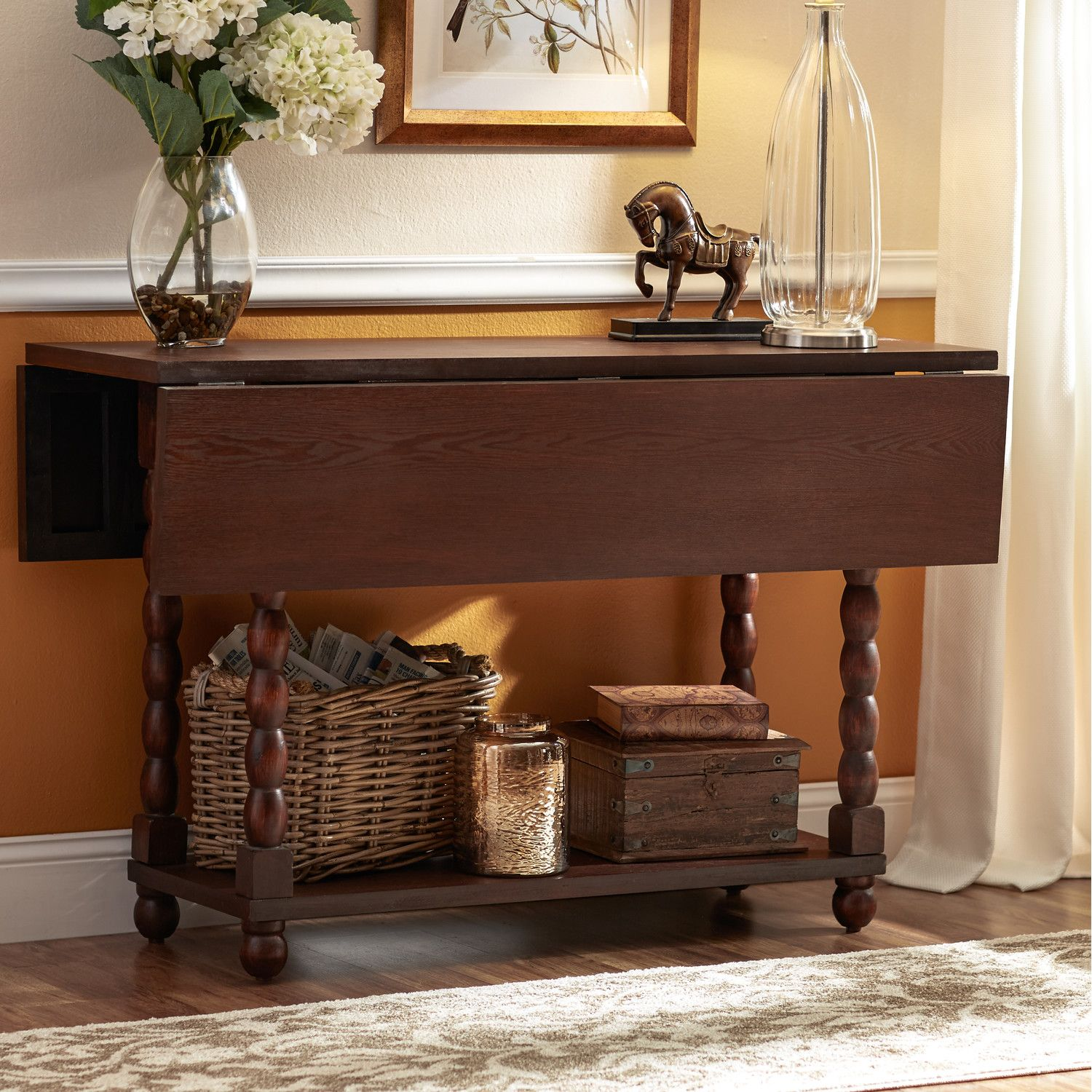 30H X 48W X 18D (with leaves up, the top is 36 x 48) $183  Three Posts Console Table