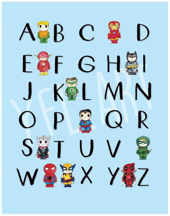 Alphabet Wall Art, Superhero ABC, ABC Chart, Nursery Art