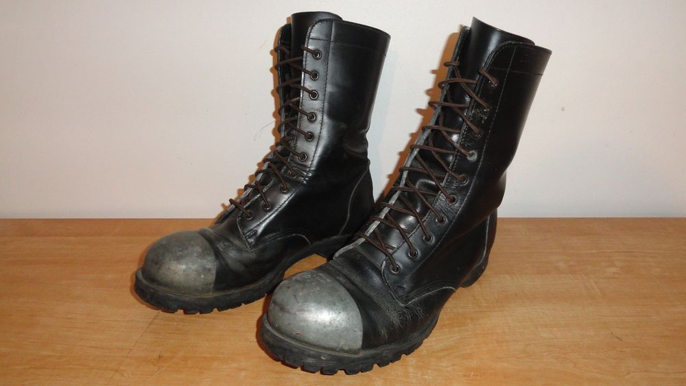 1ad595a67f987 Black Leather GRIPFAST Punk Goth Biker Combat Boots Sz-11 w Exposed Steel  Cap  Gripfast  Motorcycle