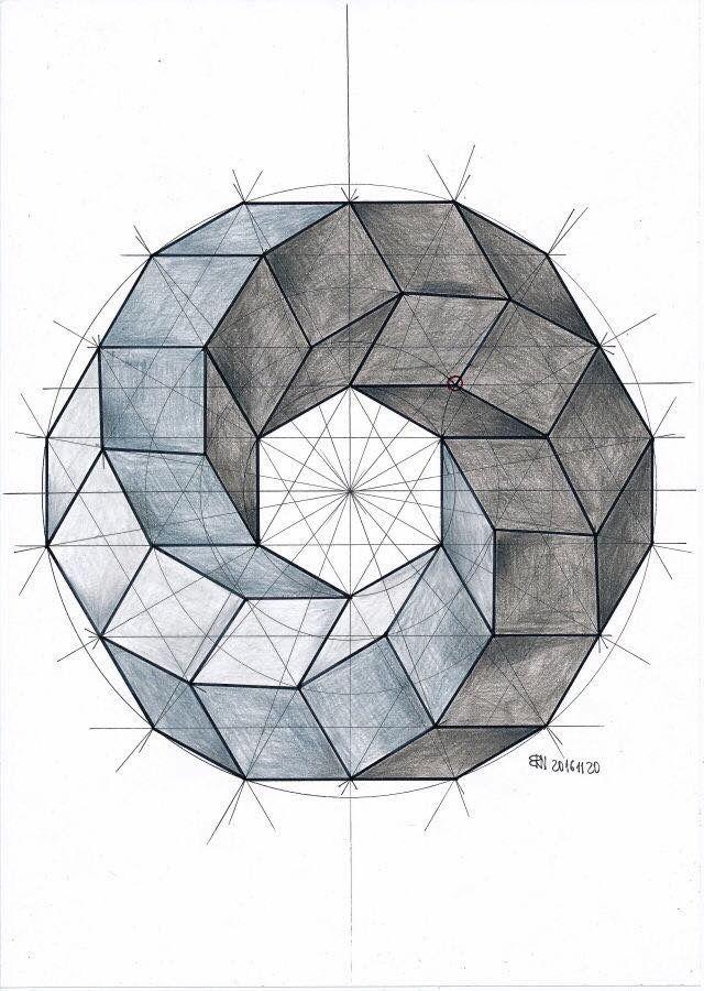 Regular Circular Form Composed Of Rhombuses Equilateral Parallelograms And Squares Not All The Forms Ar Arte De Geometria Arte Geometrico Dibujo Geometrico