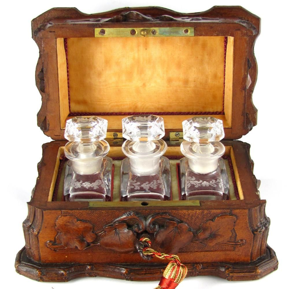 Antique Black Forest Hand Carved Wood Perfume Box, Caddy, Cut Crystal Scent Bottles Set