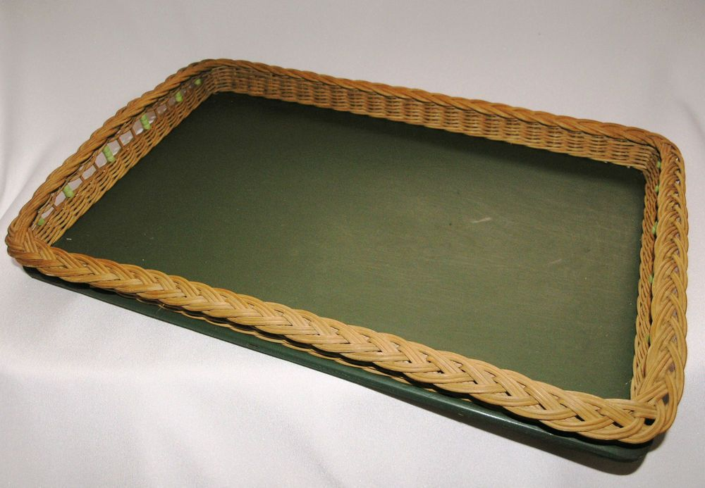 Vintage woven wicker edge green serving tray, glass beads 1940s-50s plywood base