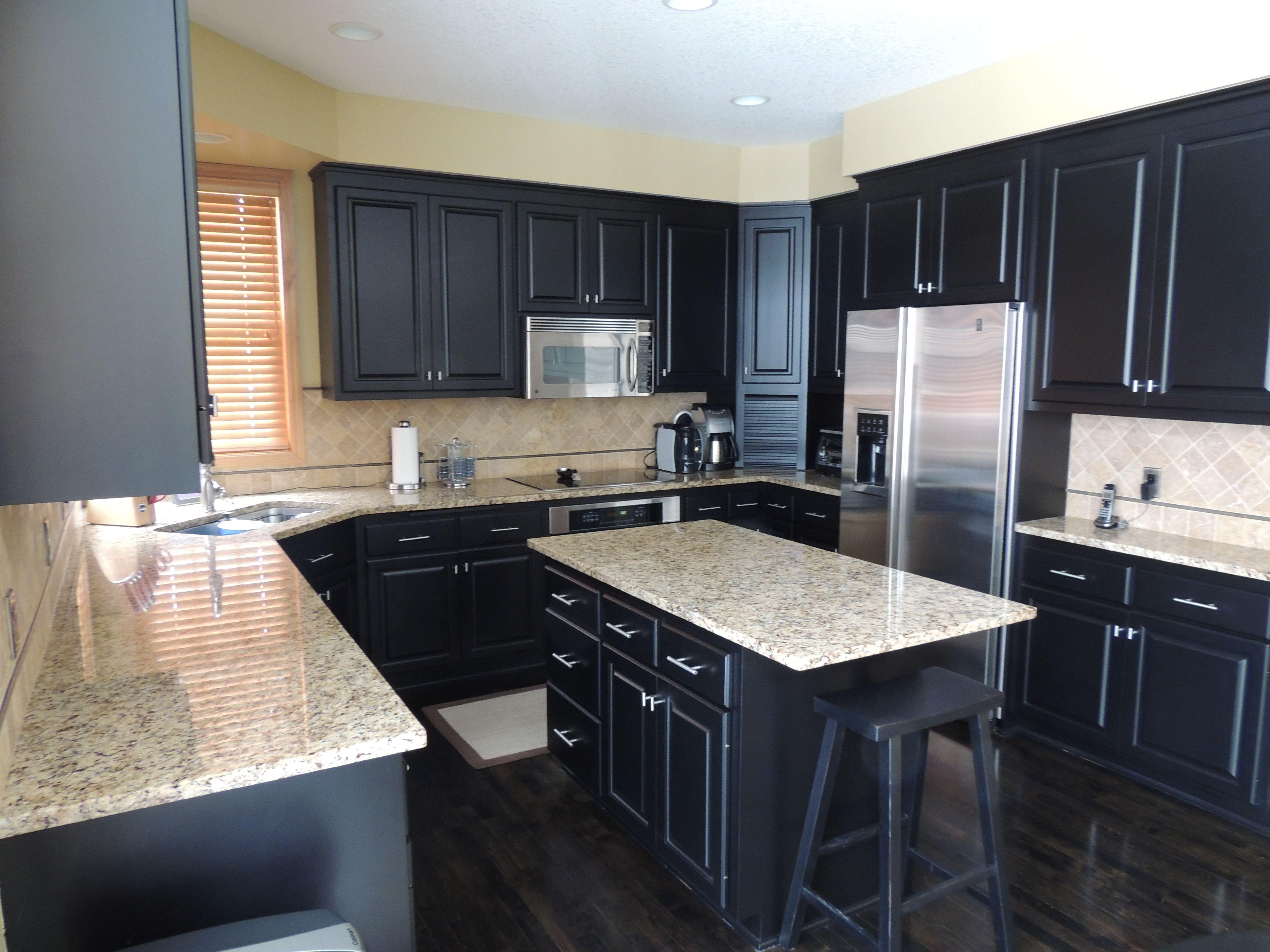 Glorious White Granite Tops Black Kitchen Island