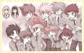 Beyblade characters in school uniforms.