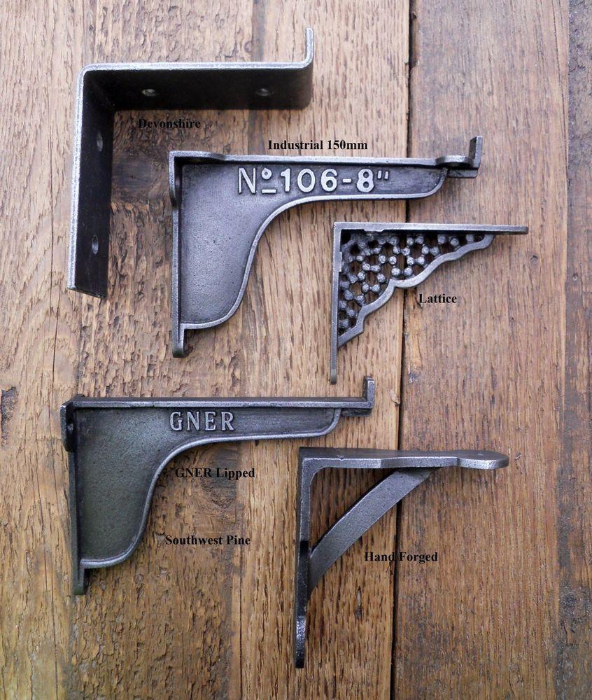 Hooks, Brackets & Curtain Rods A PAIR OF SMALL CAST IRON HAMMERED ANTIQUE STYLE SHELF BRACKETS WALL BRACKET
