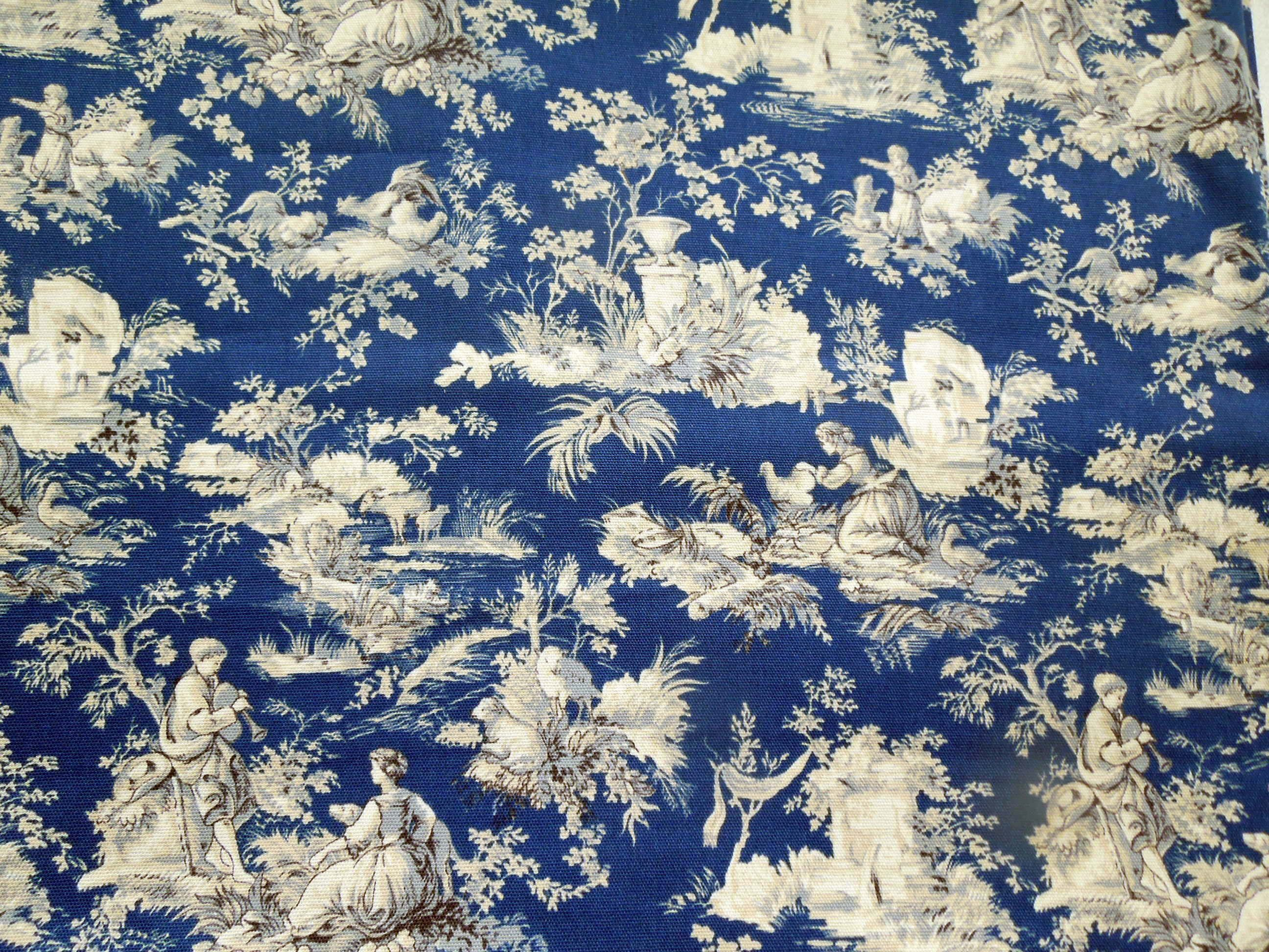 Toile Toile Blue Toile French Romantic Blue Fabric Printed by Spoonflower BTY
