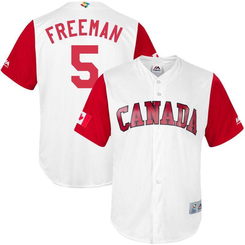 brand new 3c444 bd74b Freddie Freeman Canada Baseball Majestic Youth 2017 World ...