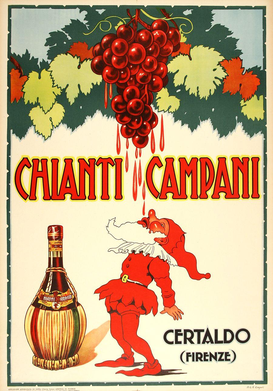 CHIANTI CAMPANI, a small original vintage poster from ...