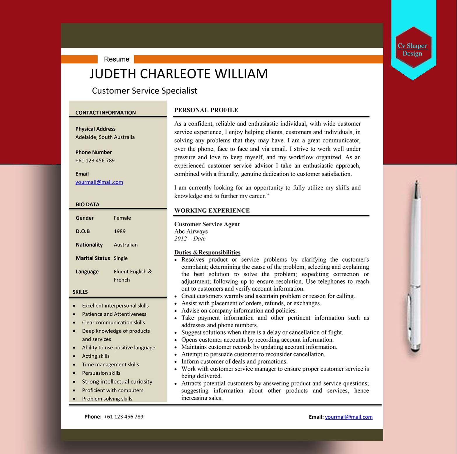 This Customer Care Personnel CV sample can be downloaded