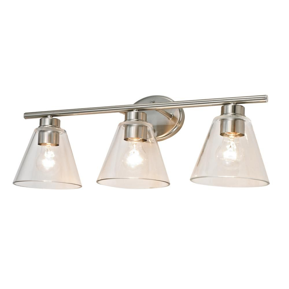 Addington Park Nassau 5 Piece Brushed Nickel Vanity Light All In One Bath Set 31790 The Home Depot In 2020 Vanity Lighting Bath Sets Light