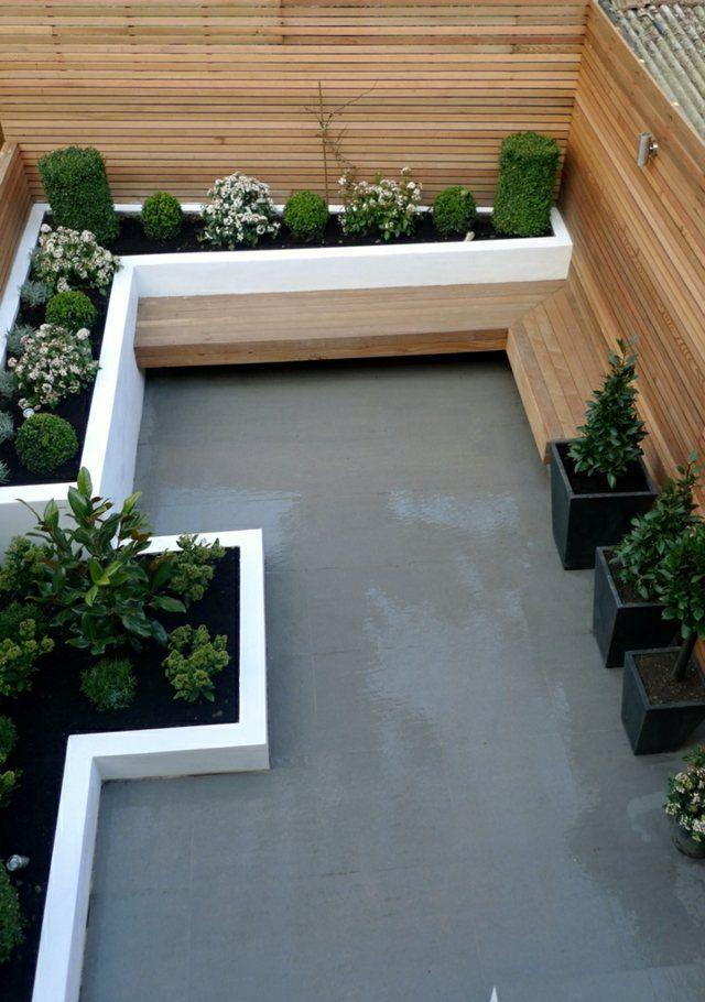Gartenbank modern beton  Gartenbank Holz Beton Boden Blumenbeete Zaun immergrün | Balkon ...