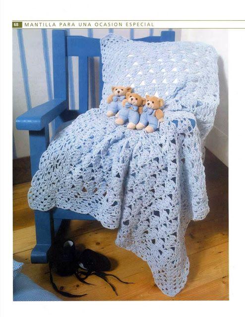 patrones asgaya: MANTA A CROCHET PARA BEBÉ   Cosas para tejer ...