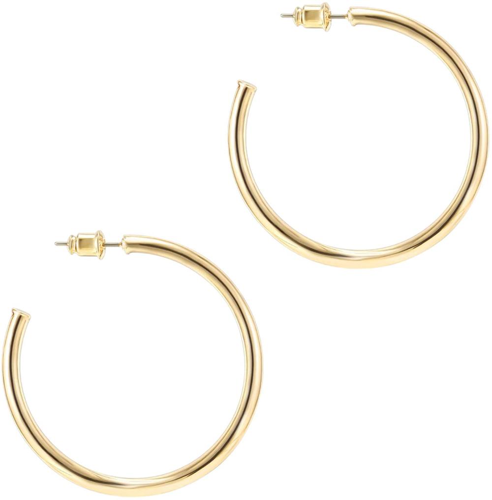Amazon Com Pavoi 14k Yellow Gold Hoop Earrings For Women 2mm Thick 45mm Infinity Gold Hoops Women Hoop Earring Sets Gold Earrings For Women Women S Earrings
