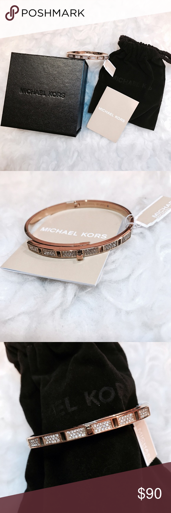 Michael Kors Pavé Gold Tone Bracelet Bangle BRAND NEW IN BOX!!! Michael Kors Pavé Gold Bracelet Bangle (One size fits all).   • Can stack with other bracelets or a watch! Just twist the little Lock in the middle of the bracelet to take off or put on, beautiful! So shiny too. Comes with the original box, bag, and tags. Would make a great gift.  **Retails $145** Michael Kors Jewelry Bracelets