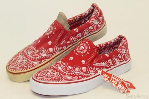 7a9514c60dd140 VANS-NWD-Mens-10-Red-White-Skull-Bandana-Print-Slip-Ons-Skateboard-Shoes-xg