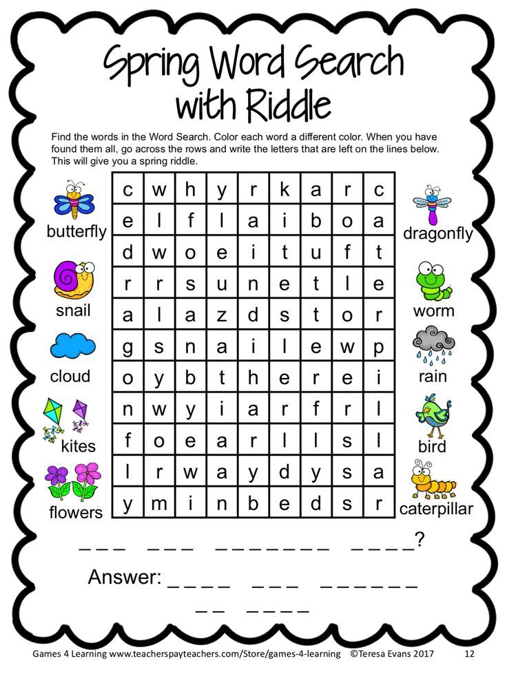 Free Spring Break Packet: Math Games, Writing, Word Search