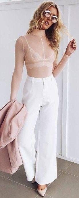 c9f0e433a3e3 #prefall #muraboutique #outfitideas | Nude Sheer Bodysuit + White Pants