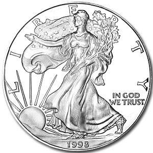 1998 1 Oz Silver American Eagle Coin American Silver Eagle Silver Eagle Coins Gold And Silver Coins