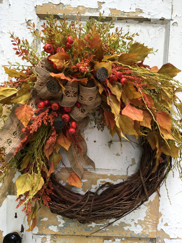 Fall Wreath Autumn Wreath Rustic Wreath Etsy Wreath Designer Wreath Front Door Wreath By Flowerpowerohio On Diy Fall Wreath Rustic Fall Decor Wreath Decor