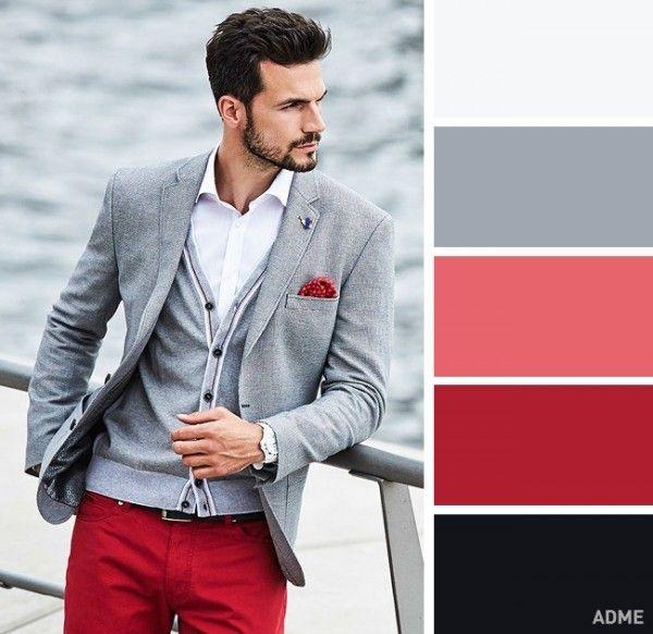 9 Gris Claro Y Rojo Te Crearán Una Sensación De Actualidad Y Seriedad Mens High Street Fashion Color Combinations For Clothes High Fashion Street Style