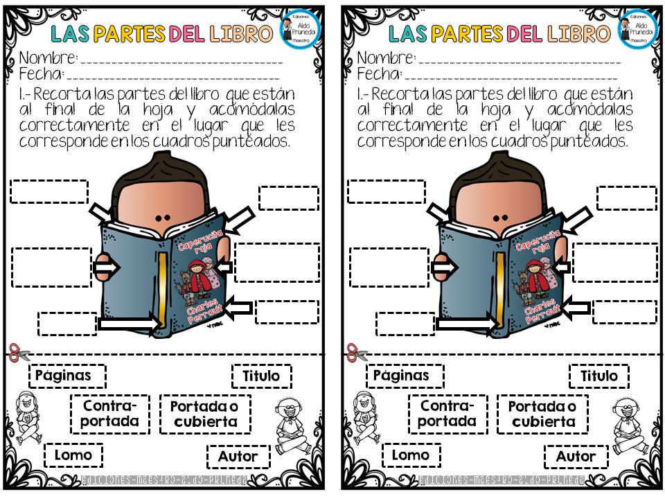 Partes Del Libro Portadores De Texto Actividades Dia Del Libro Partes Del Libro