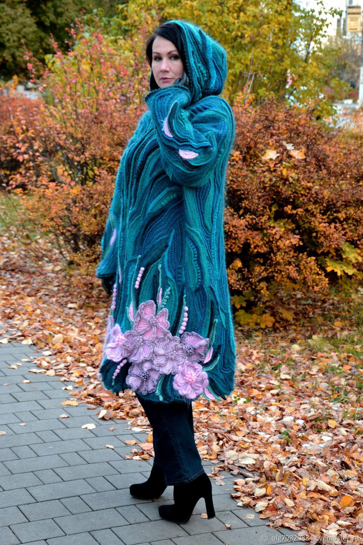 """Теплое женское вязаное пальто с капюшоном """"Флора ..."""