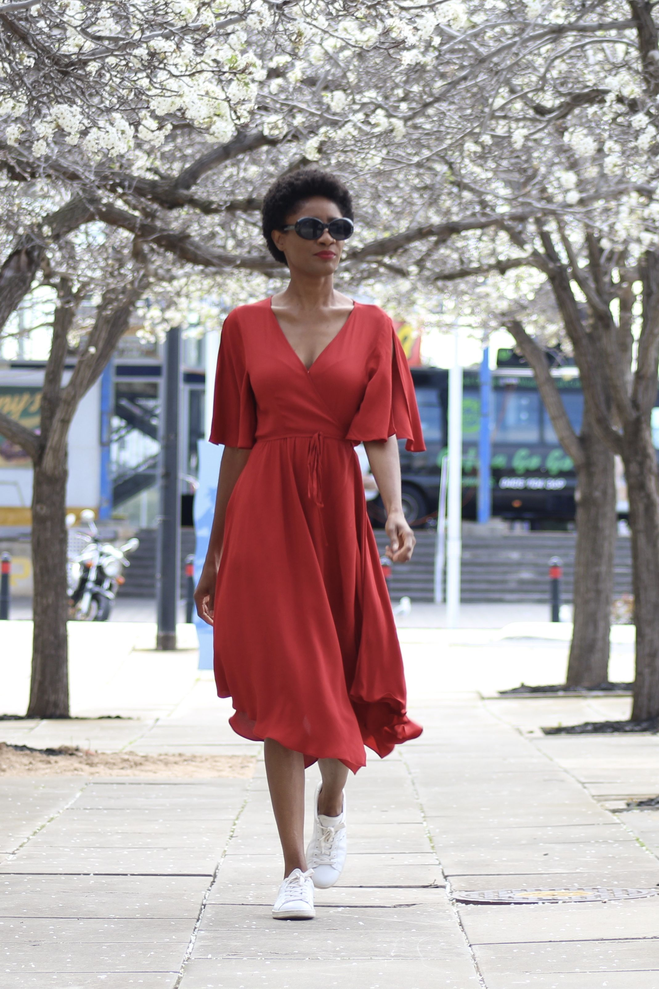 Summer dots style pinterest red wrap dress casual chic and