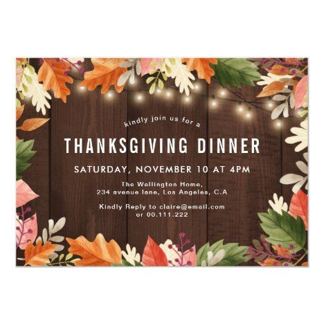 Fall Colors Rustic Wood Thanksgiving Dinner Invitation Zazzle Com In 2020 Thanksgiving Dinner Invitation Dinner Invitations Thanksgiving Dinner