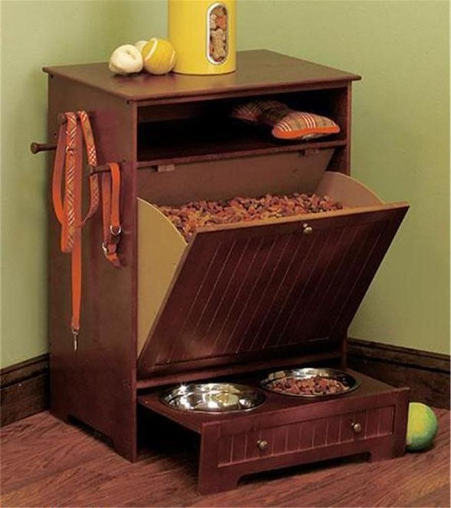 dog food storage cabinet with 3 bowls