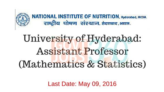 University of Hyderabad: Assistant Professor (Mathematics & Statistics)