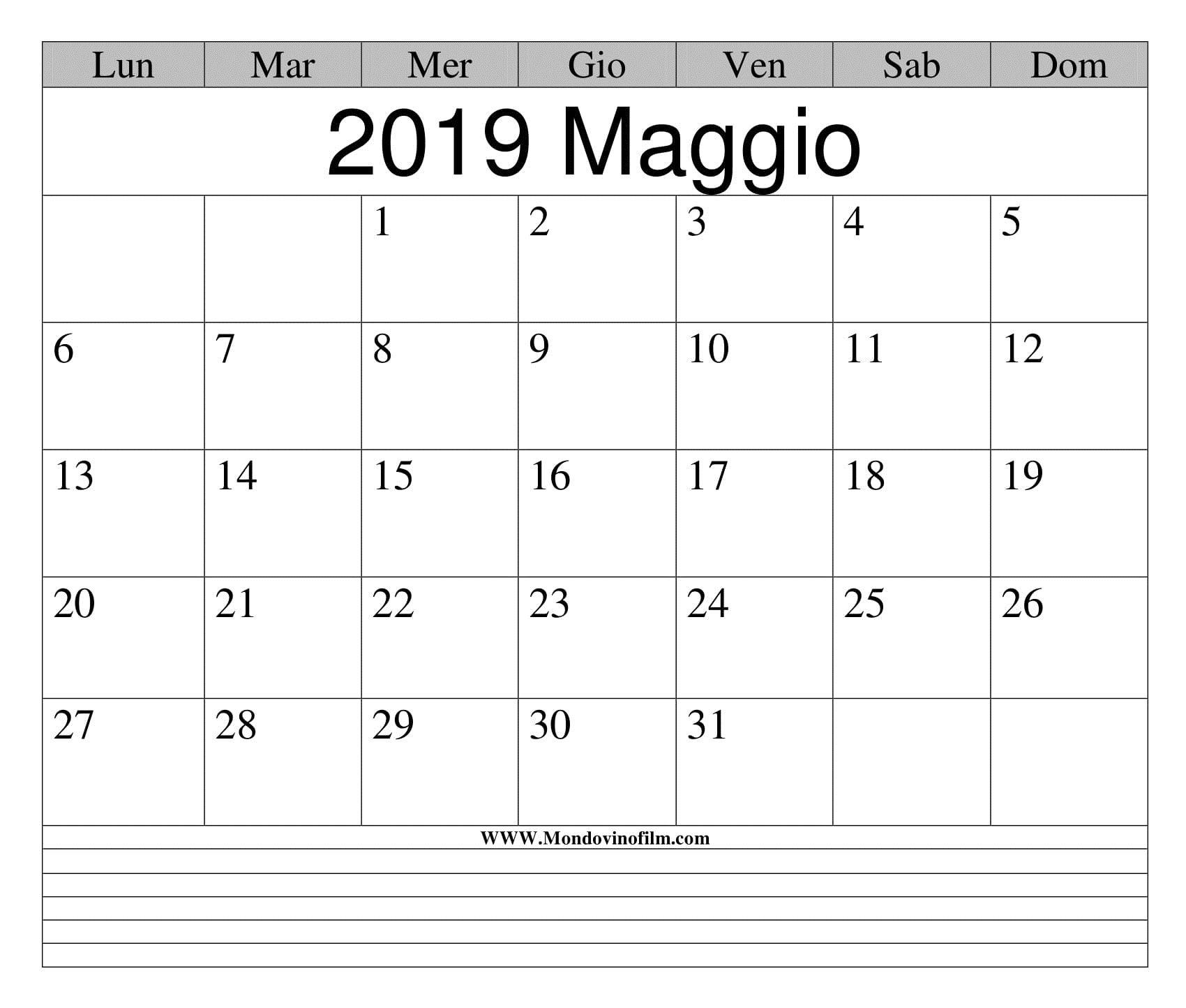 2019 Calendario Maggio Da Stampare Excel | Calendario, Stampe, Maggio