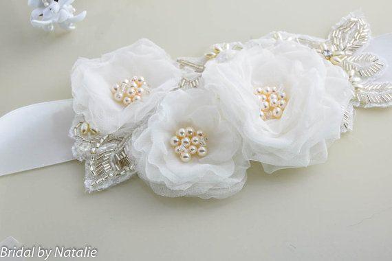 Off White Pure Silk Flower Bridal Sash  by BridalSashbyNatalie