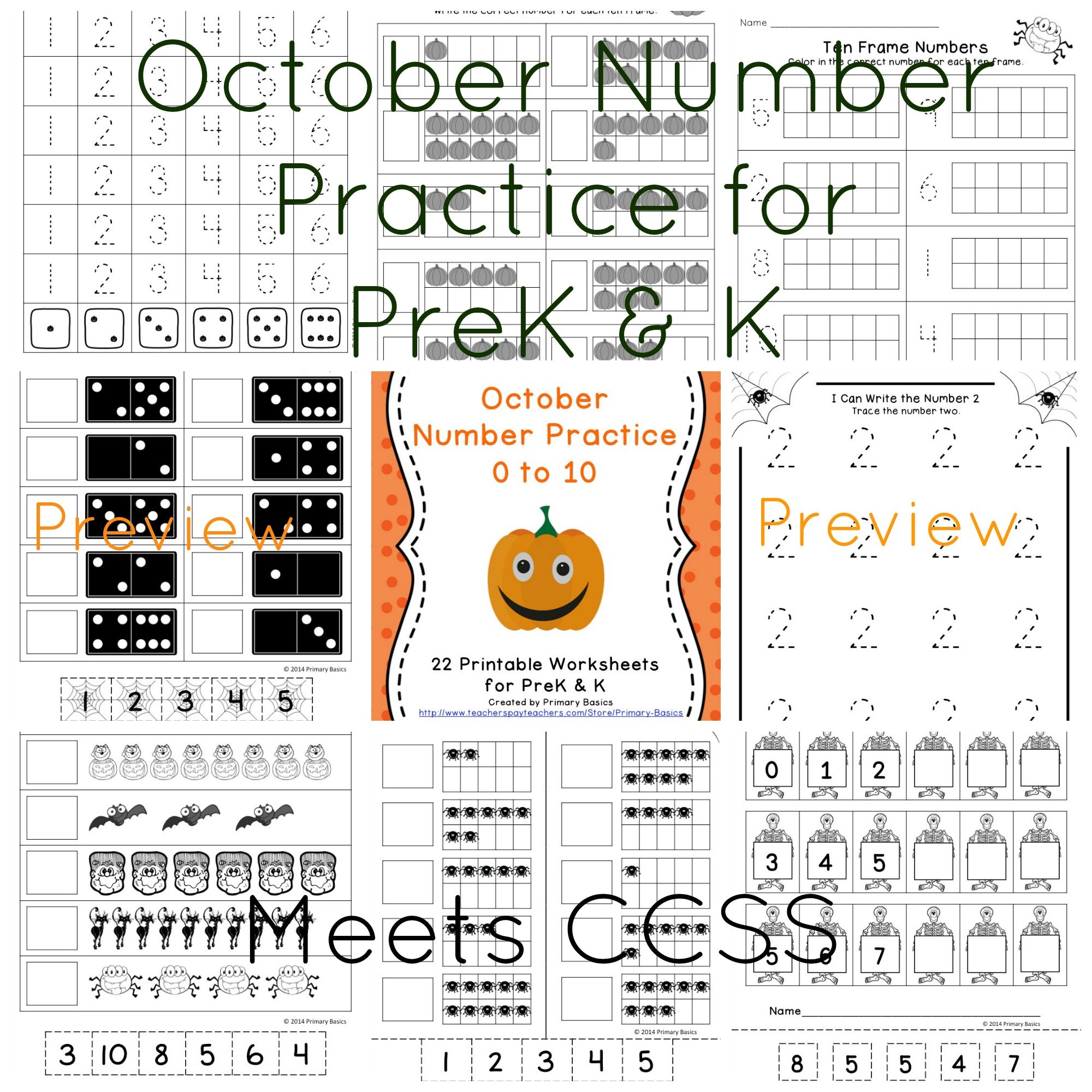 October Number Practice For Prek And K
