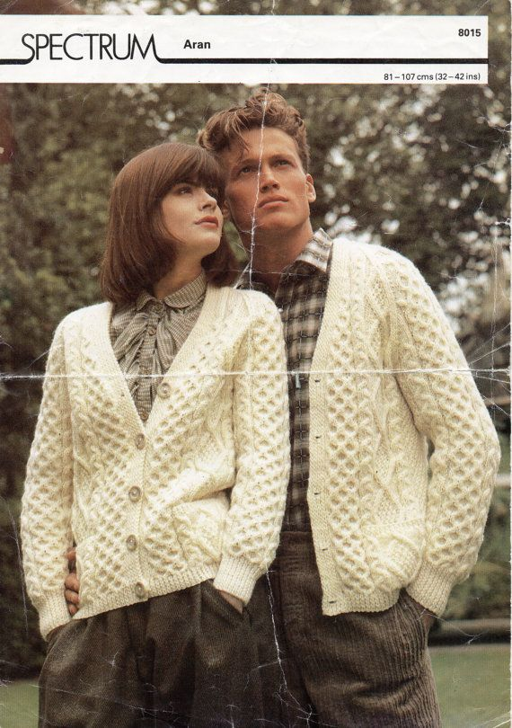 Womens / mens Aran cardigan knitting pattern PDF Aran Jacket v neck ...