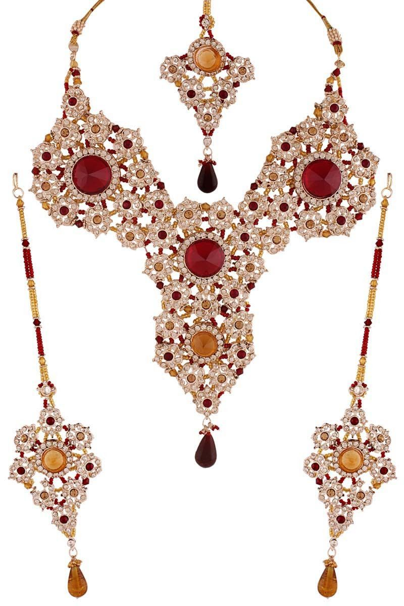 Red silver plated austrian diamond necklace set necklace sets