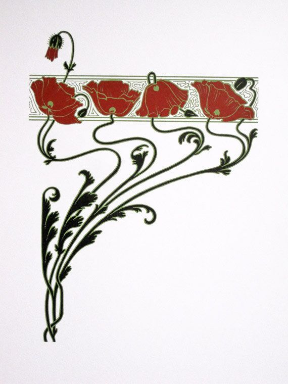 Art Nouveau  Red Poppies  limited edition screenprint by NigelDK, £40.00