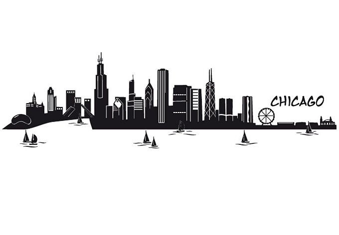 Chicago Skyline Wall Sticker - self-adhesive home decoration - Wall Stickers | Wall Art Shop | Decorating Ideas u0026 Wall Decals  sc 1 st  Pinterest & Chicago Skyline Wall sticker | Pinterest | Chicago skyline Wall ...
