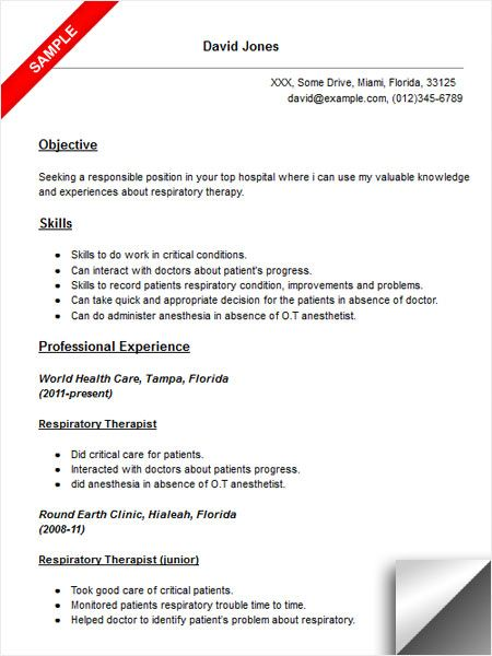Respiratory Therapist Resume Sample Resume Examples Pinterest - objective for a cna resume