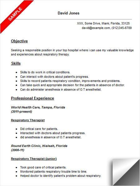 respiratory therapist objective resume examples