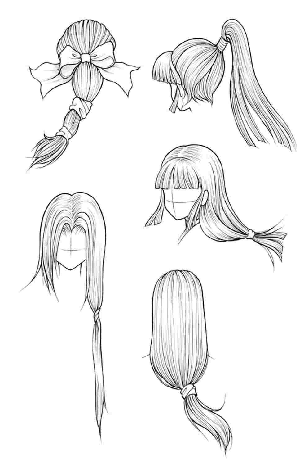 Anime Hair Sketch At Paintingvalleycom Explore Collection Of Long Hair Drawing Manga Hair Hair Sketch