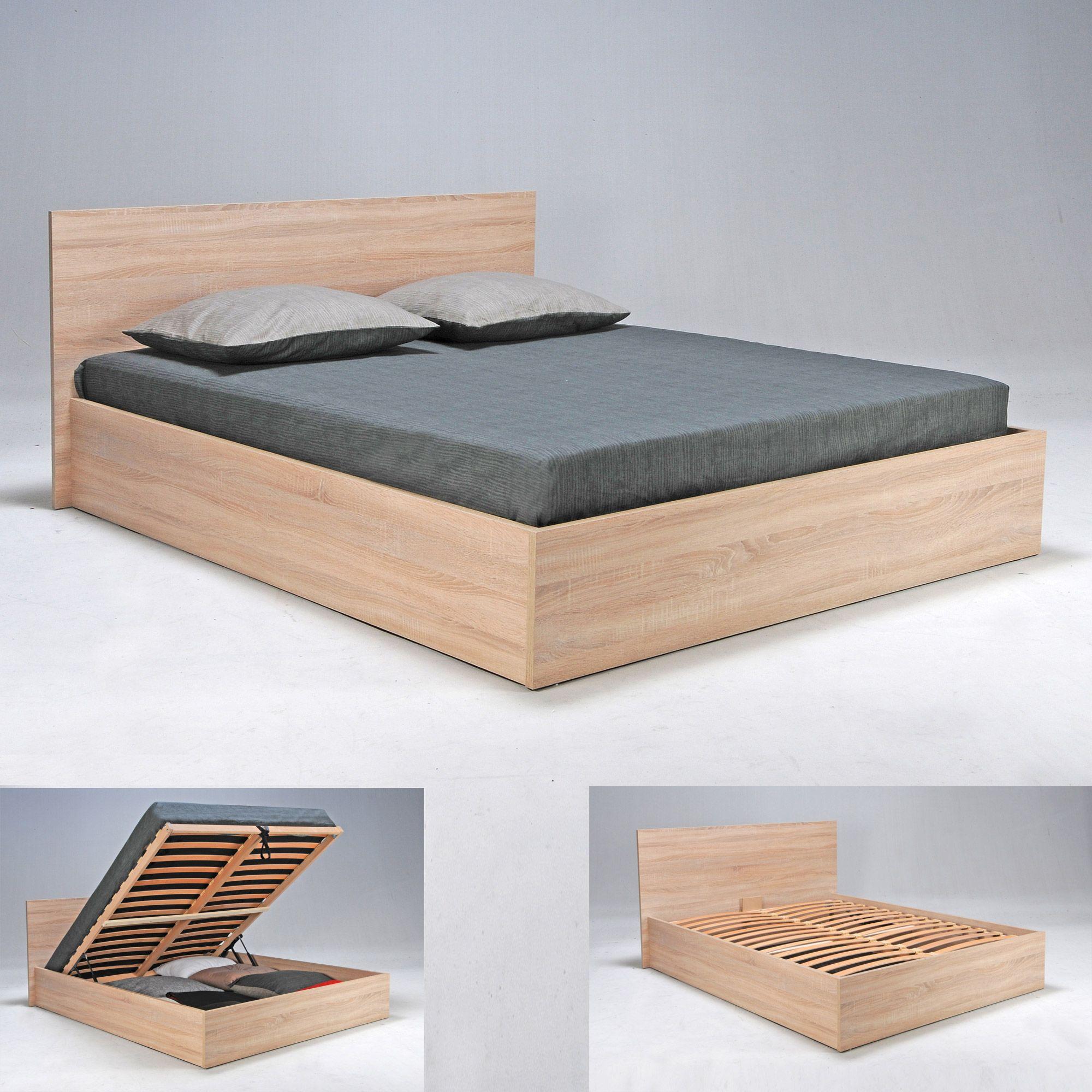 lit coffre en hêtre avec tête de lit et sommier à latte multiplis